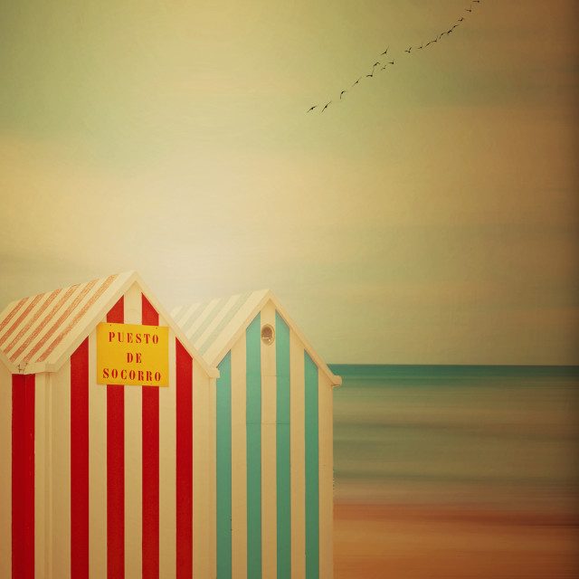"""the little beach huts"" stock image"