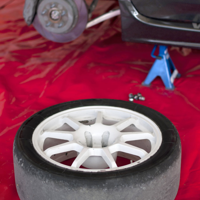 """""""Changing a tire"""" stock image"""