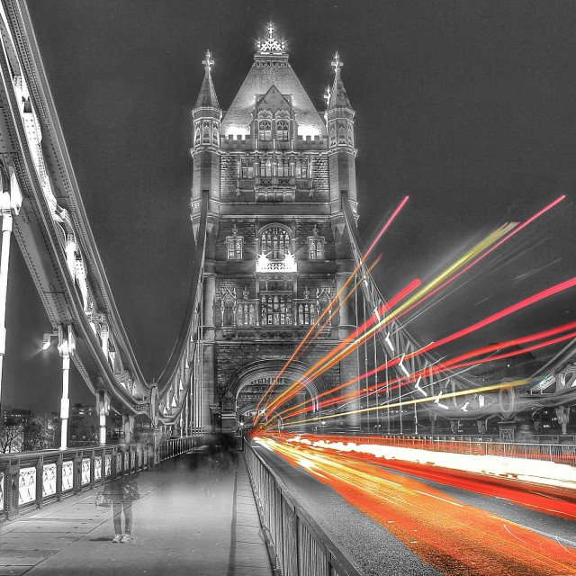 """Tower Bridge by night"" stock image"