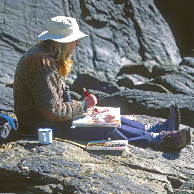 """""""Artist Painting Coastal Scene. MR."""" stock image"""