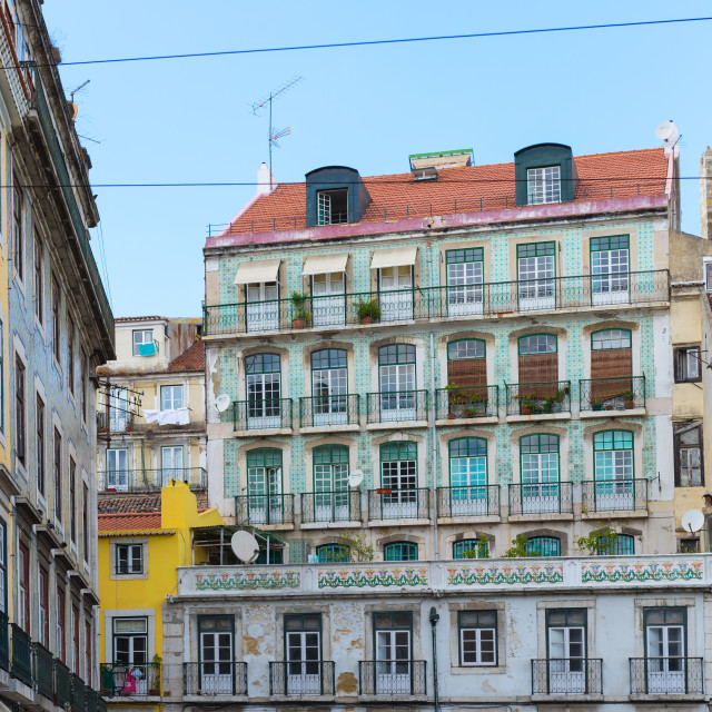 """Typical houses in Lisbon"" stock image"