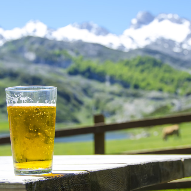 """Beer in the mountain"" stock image"