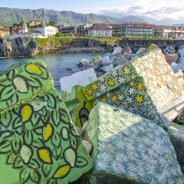 """Llanes painted cubes"" stock image"