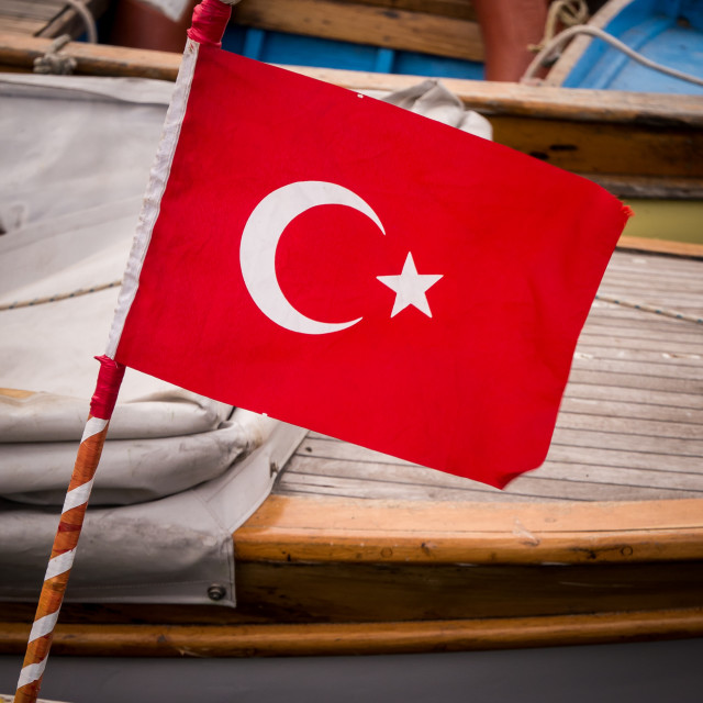 """Turkish Flag and Pole on Fishing Boat"" stock image"