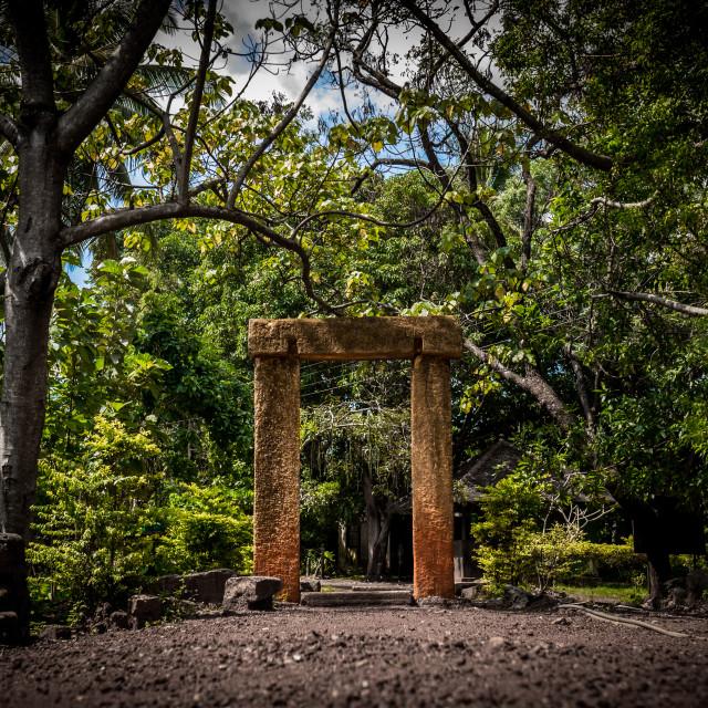 """""""Sandstone doorway standing in ancient ruins"""" stock image"""