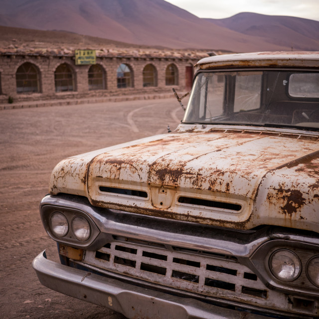 """Rusty, old, broken pickup truck"" stock image"