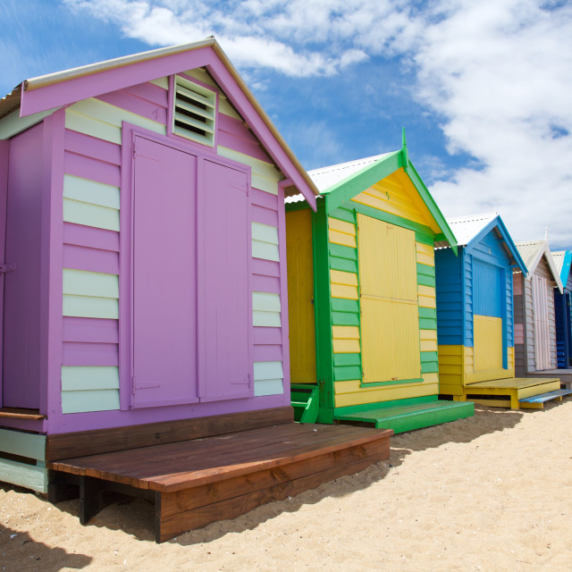 """Colorful Beach Huts in Australia"" stock image"