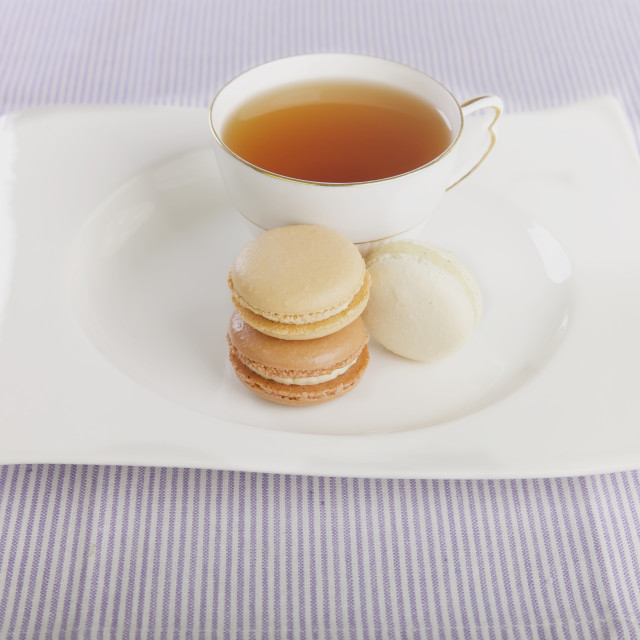 """Tea and macaroons"" stock image"