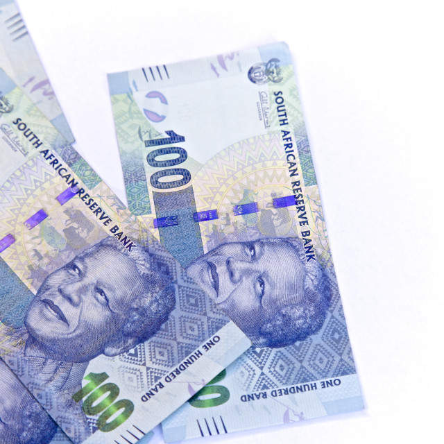 """South African, New one hundred bank notes"" stock image"