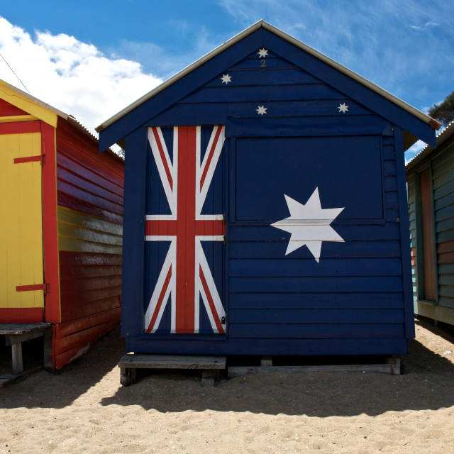 """Colourful Beach Huts in Australia"" stock image"