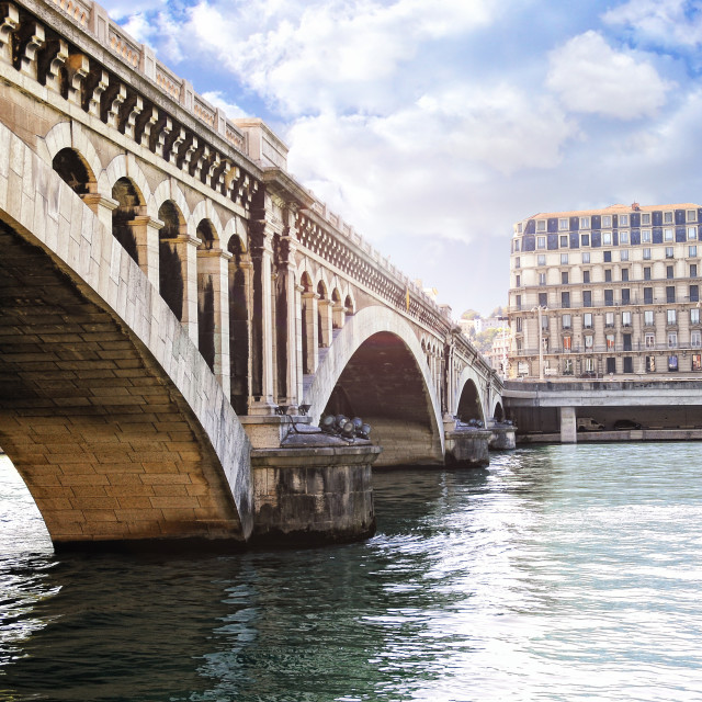 """Wilson bridge over the Rhone river"" stock image"