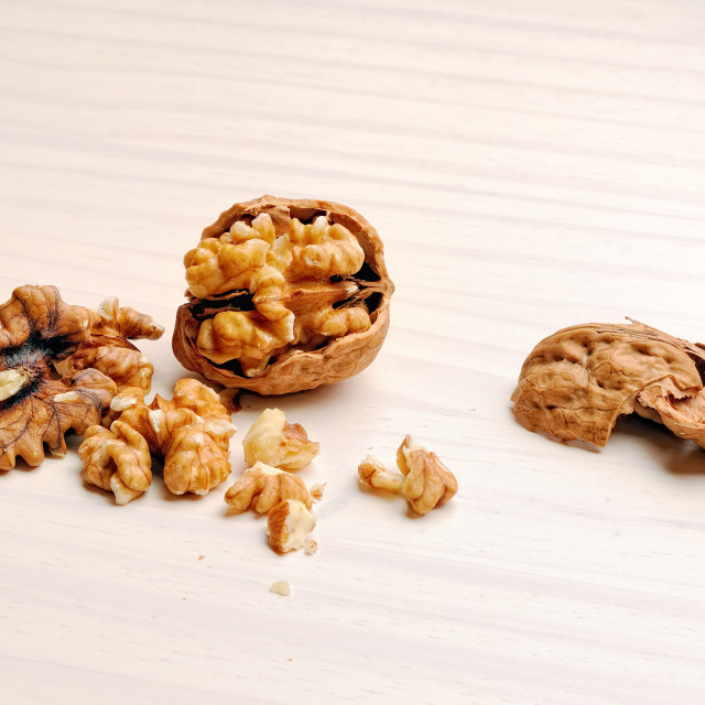 """walnut on the table heading"" stock image"