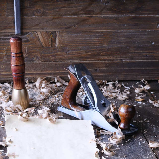 """""""Carpenter tools with blank parchment."""" stock image"""