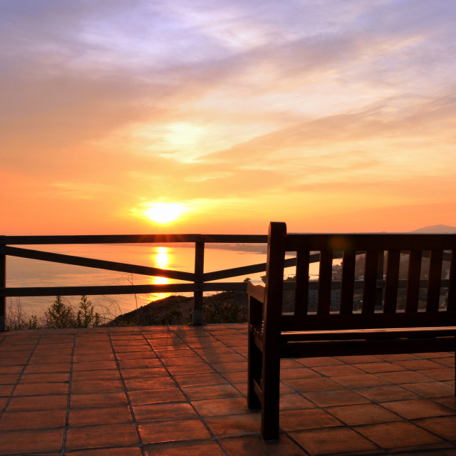"""empty bench at a viewpoint"" stock image"
