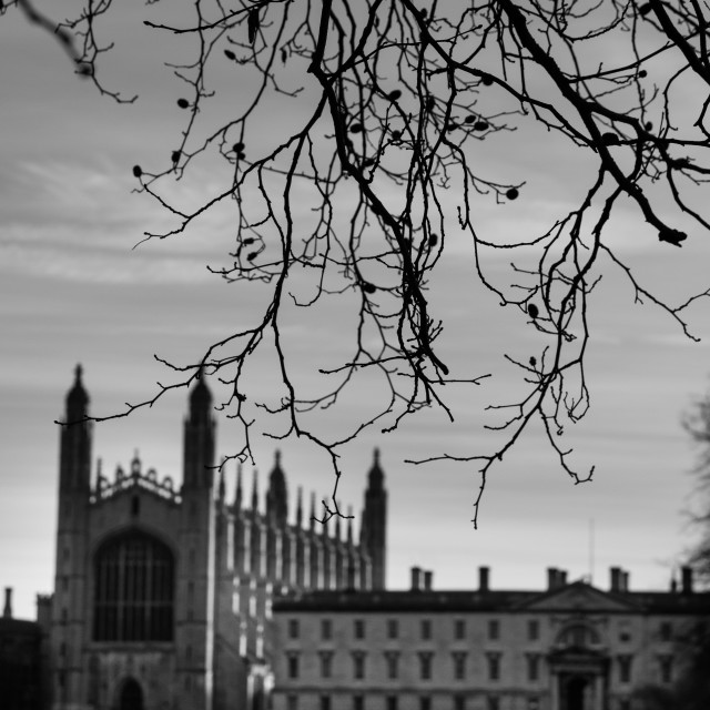 """King's college chapel - black and white"" stock image"