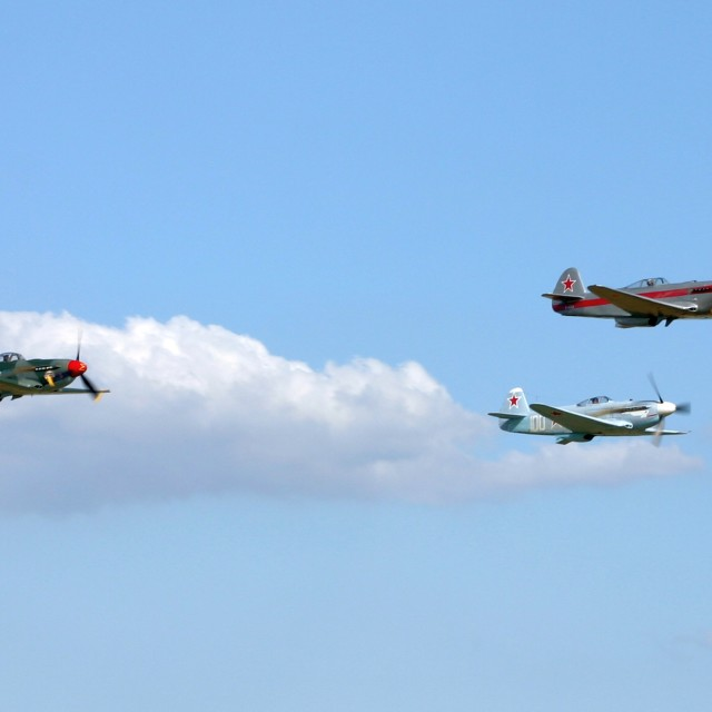 """""""Formation of Three Yak Fighters"""" stock image"""