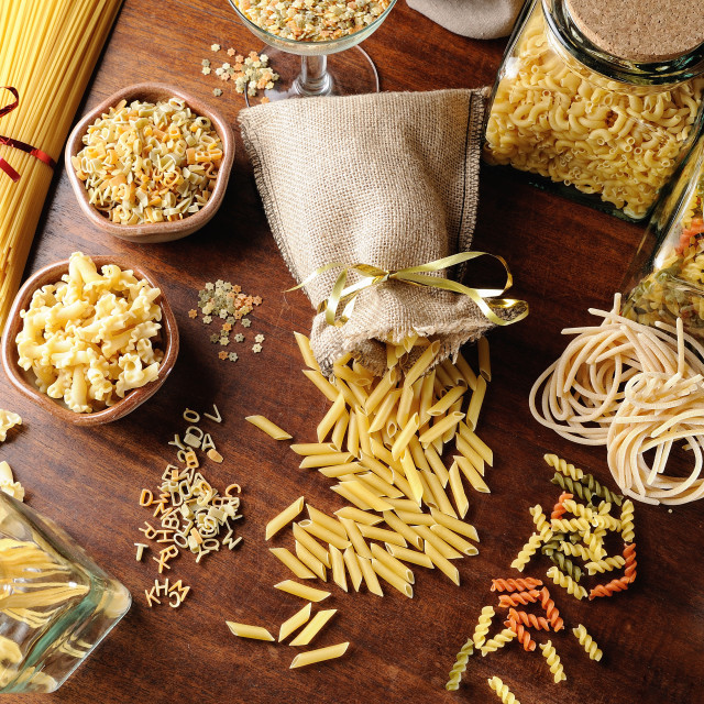"""composition with various types of pasta top view and overview"" stock image"