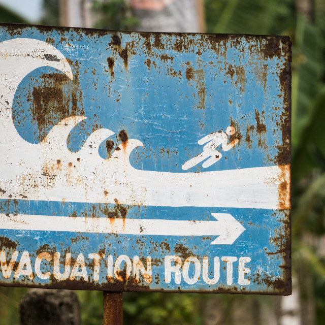 """""""Evacuation route sign"""" stock image"""