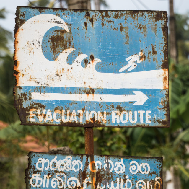 """Evacuation route sign"" stock image"