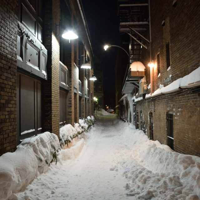 """Boston Snow at Night IV"" stock image"