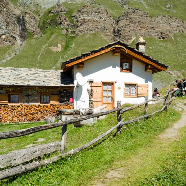 """""""Levionaz casa Guardaparco (Levionaz Ranger's house)"""" stock image"""