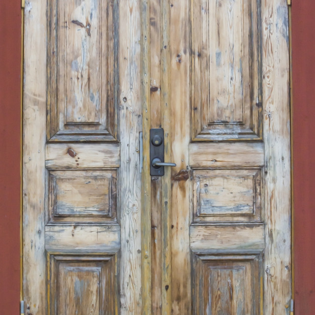 """Grungy Wood Door"" stock image"