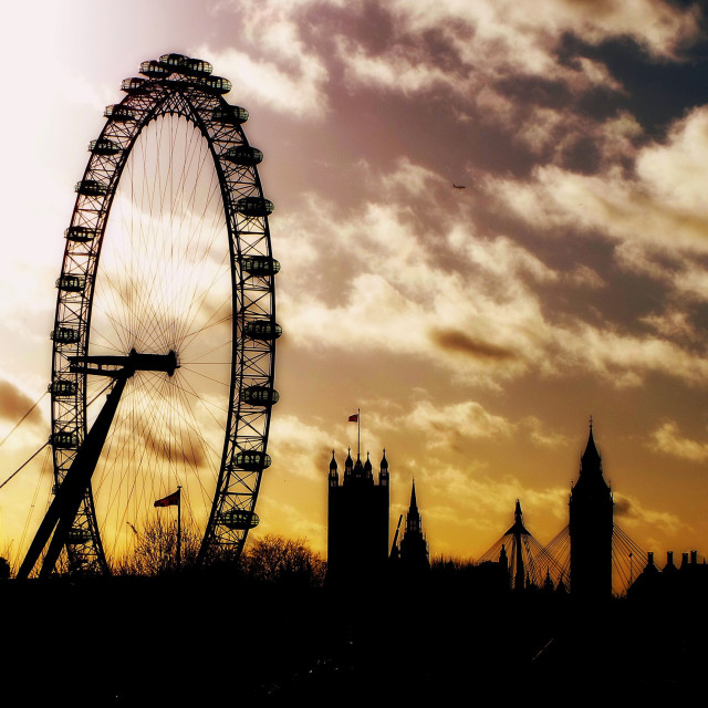 """London Eye and Parliament"" stock image"