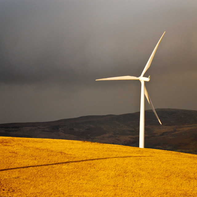 """Wind Turbine on Ammanford mountain"" stock image"