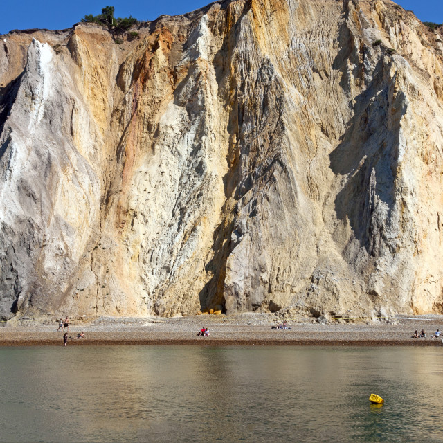 """""""The multi-coloured cliffs at Alum Bay on the south west tip of the Isle of Wight"""" stock image"""