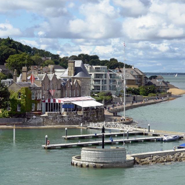 """""""Cowes Castle, the club house of the Royal Yacht Squadron, West Cowes, Isle of Wight"""" stock image"""