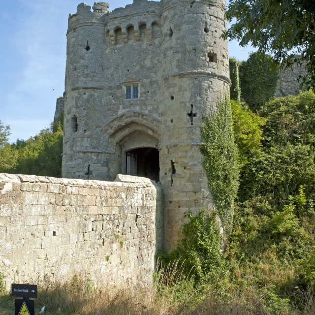 """""""Main gate at Carrisbrooke Castle, near Newport on the Isle of Wight"""" stock image"""
