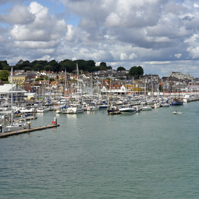 """""""The boat yards of West Cowes on the Isle of Wight."""" stock image"""