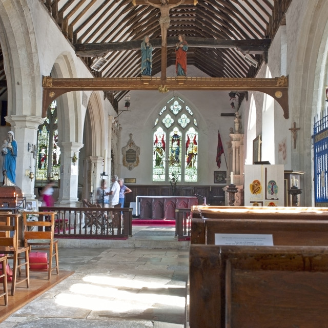 """""""The interior of All Saints' church in Godshill, Isle of Wight.."""" stock image"""