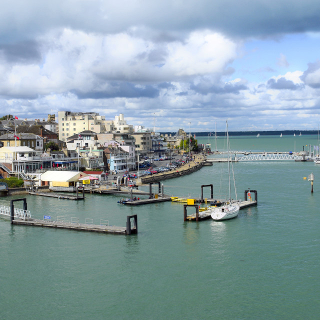 """""""The Parade, West Cowes, Isle of Wight and the Royal Yacht Squadron."""" stock image"""