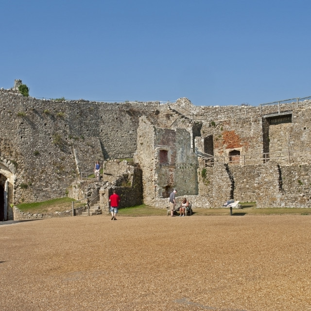 """""""he ruined walls of Carrisbrooke Castle, near Newport on the Isle of Wight"""" stock image"""