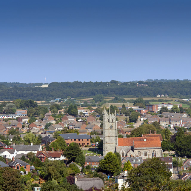 """""""View of Newport, Isle of Wight, from the ramparts of nearby Carrisbrooke Castle"""" stock image"""