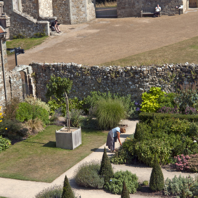 """""""The Princess Beatrice garden at Carrisbrooke Castle, near Newport on the Isle of Wight"""" stock image"""