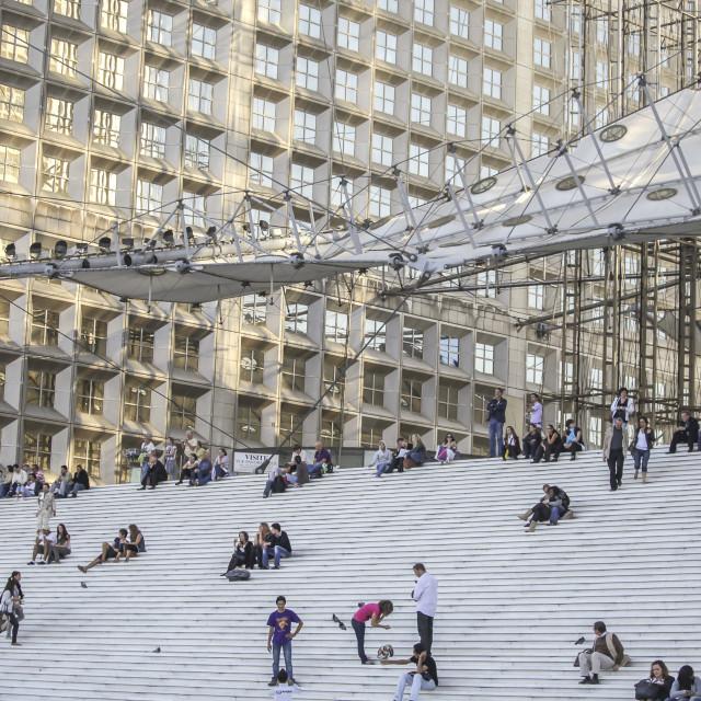"""People on La Grande Arche in Paris"" stock image"
