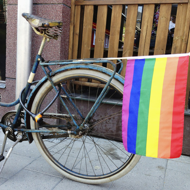 """""""Rainbow flag on a bicycle."""" stock image"""