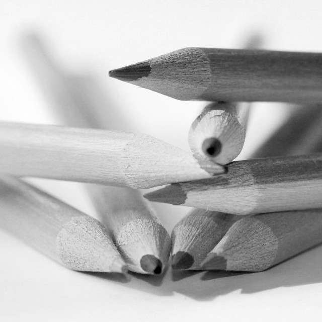 """Artists pencils in black and white"" stock image"