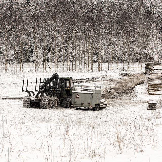 """Forestry machine parked"" stock image"