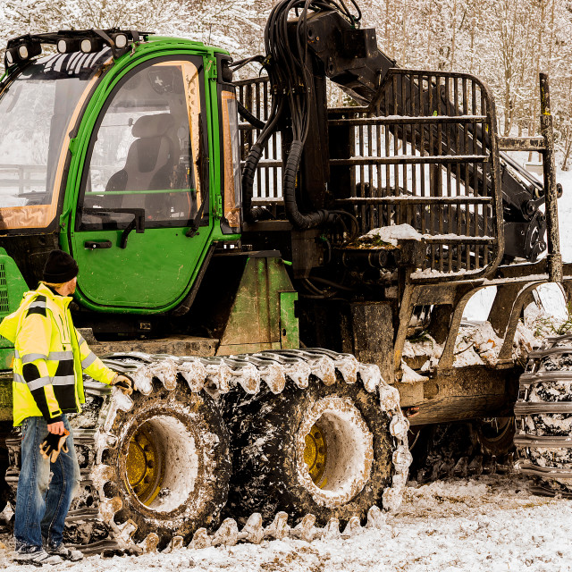 """""""Forestry machine with lumberjack in front"""" stock image"""