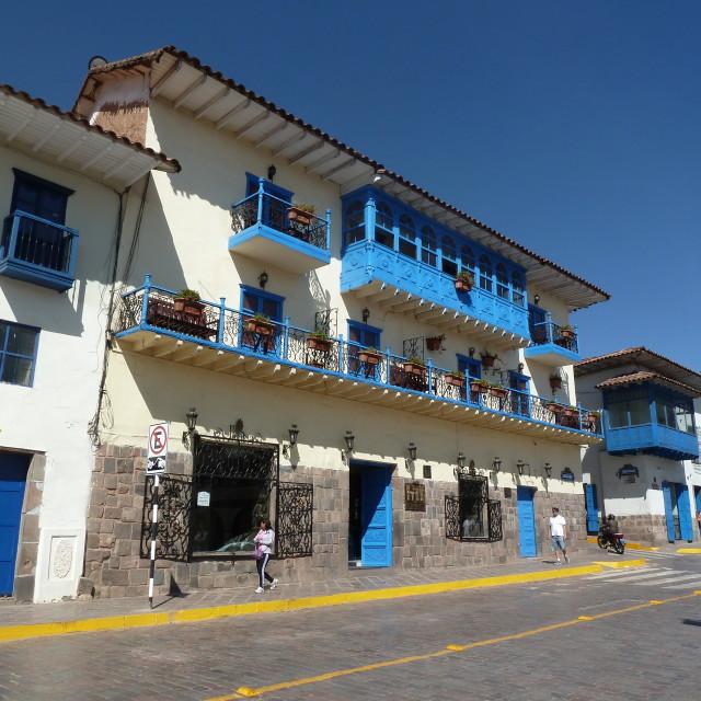 """Balcony in Cuzco, Peru"" stock image"