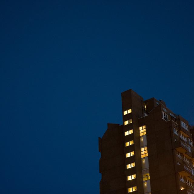 """Tower block at night"" stock image"