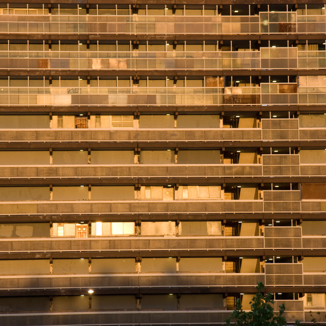 """Heygate estate at sunset"" stock image"