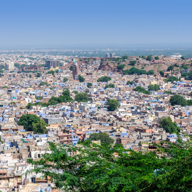 """Cityscape of Jodhpur from Mehrangarh Fort"" stock image"
