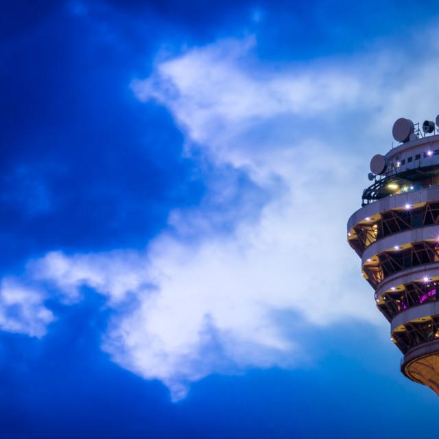 """Kuala Lumpur Tower at Night Closeup"" stock image"