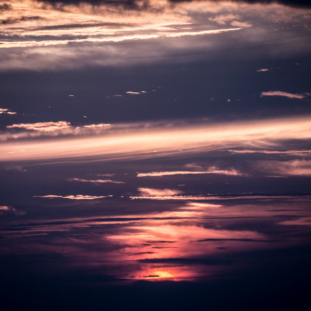 """""""Sunrise or Sunset with beautiful cloud pattens."""" stock image"""