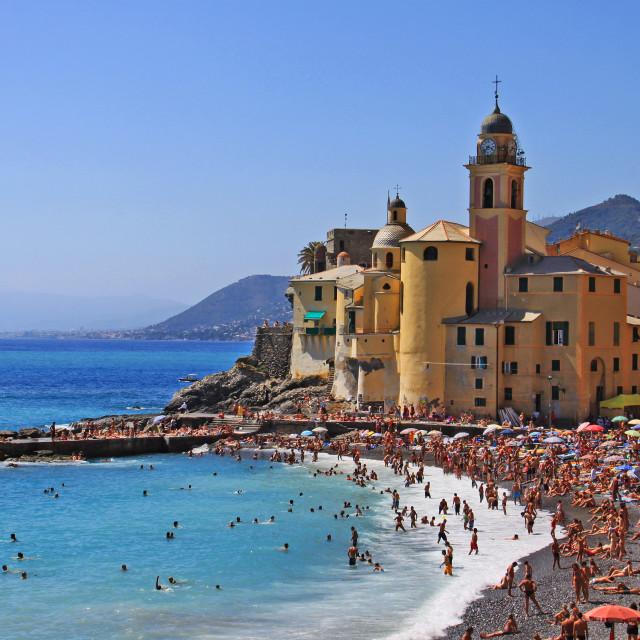 """Camogli, people enjoying the summer day on the strand"" stock image"