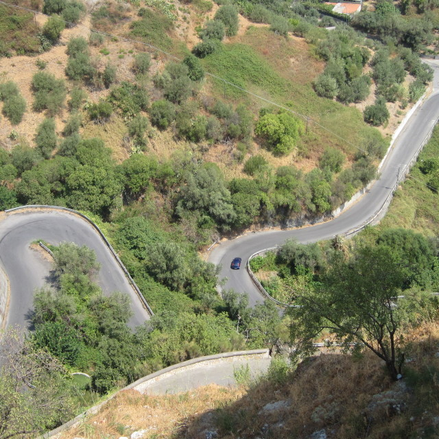 """Crazy roads in Sicily"" stock image"
